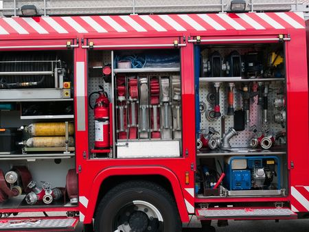 Details of rescue and firefighting truck equipment Stock Photo