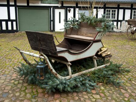 Traditional decorated Santa Claus Christmas sleigh  photo