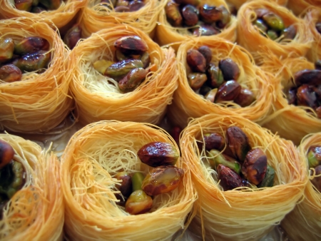 Baklawa typical Oriental Arab sweet freshly baked desert