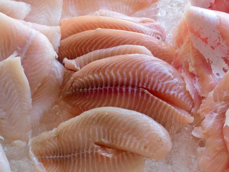 Display of fresh seafood fish fillets on ice cubes photo
