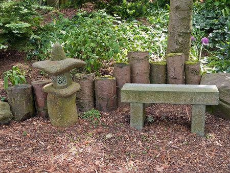 Beautiful romantic Japanese garden patio seating corner  photo
