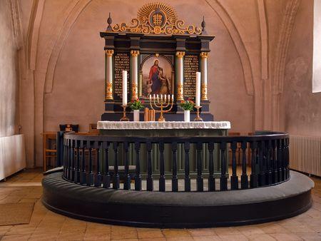 Beautiful décoré Église autel prête pour Noël  Banque d'images - 6034490