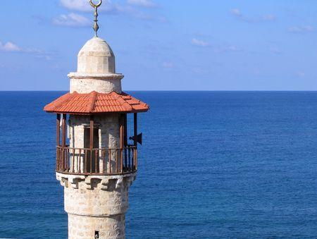 Mosque symbol of Islam Jaffa Israel with sea background photo