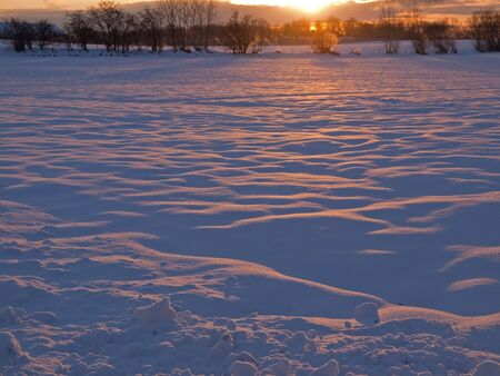 Magical beautiful winter sunset in the snow landscape background Stock Photo - 6142164