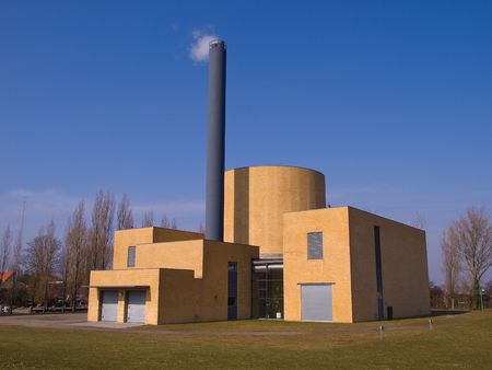 to plant structure: Factory plant building with a chimney modern industry background