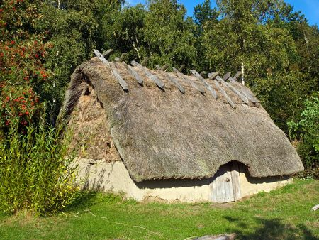 thatched roof: Traditional old Viking Age house hut in a village