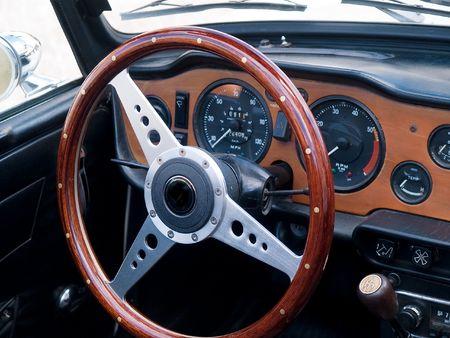 Old classic British vintage sports car dashboard