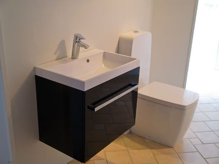 Details zu einem modernen trendy zeitgenössische Designer-Bad in schwarz und weiß Standard-Bild - 7869158