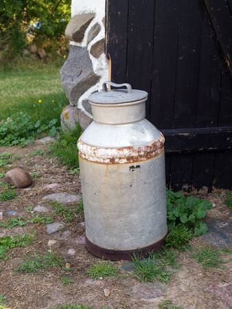 Milk organic traditional can jug in a dairy farm Stock Photo - 8336716