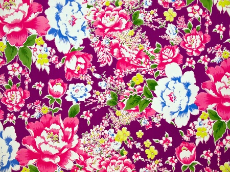 High Resolution Embossed Classical Fabric with Colorful Floral Pattern background photo