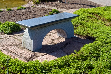 Beautiful Japanese style garden patio seating bench made from stone granite photo