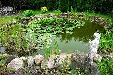 Mooie klassieke tuin visvijver met bloeiende waterlelies tuinieren achtergrond