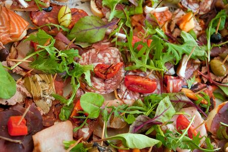 faced: Famous delicious Smorrebrod traditional Danish open face sandwich with cut meat and herbs Stock Photo