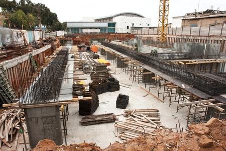 Stadt städtischen Baustelle in der frühen Gründung Bauphase