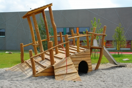 Modern design  wooden pirate ship boat in playground city park
