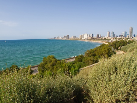 Beautiful panoramic view of the city Tel-Aviv Israel by the Mediterranean Sea photo