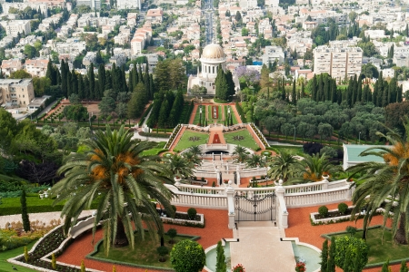 Beautiful panoramic view of The Bahai Gardens in Haifa Israel photo