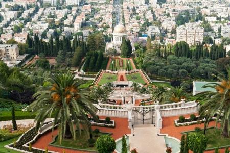 bahaullah: Beautiful panoramic view of The Bahai Gardens in Haifa Israel