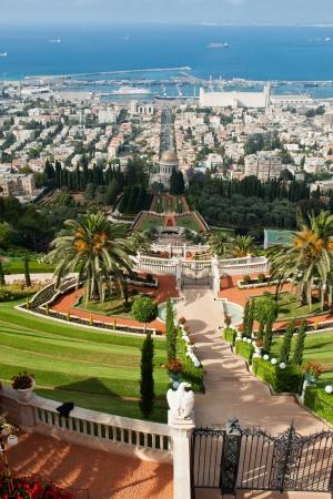 bahaullah: Beautiful vertical panoramic view of The Bahai Gardens in Haifa Israel Stock Photo
