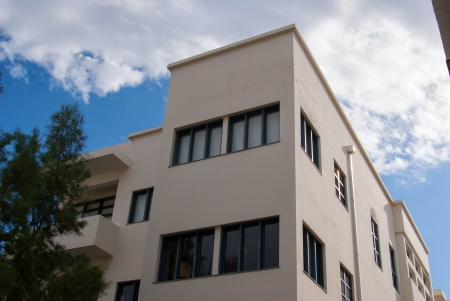 bauhaus: Old house In classical traditional Bauhaus style in the white city  Tel-Aviv Israel Editorial