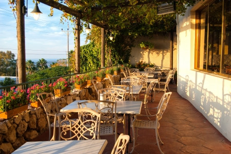 Romantic Mediterranean European style cafe bistro restaurant balcony eith great view