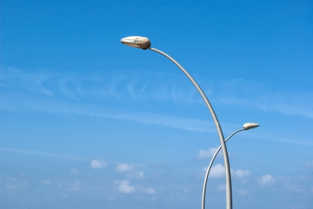 Modern design scuiptured street lamp with clear blue sky background Stock Photo - 17006266