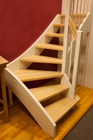 wooden stairs: Elegant design wooden stairs staircase in a modern home Stock Photo