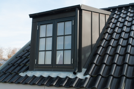 Modern design vertical roof water proof window with black tiles