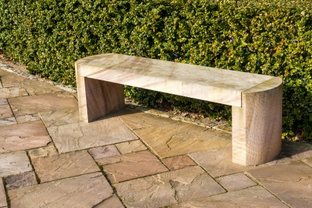 Modern design stone marble garden park bench photo