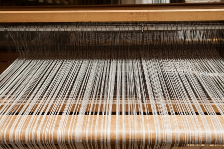 loom: Hand loom in front view - All strings attached - Textile abstract Stock Photo