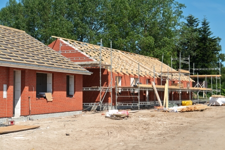 roof framework: New real estate project residential home house construction site