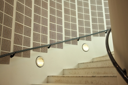 Modern classical minimalism design style stairs with in wall lamps photo