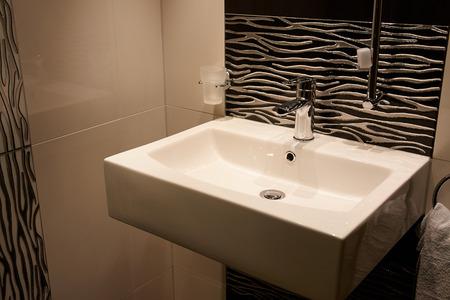 washbasin: Beautiful Large Modern Trendy Design Bathroom with Ceramics Elements in Luxury Home