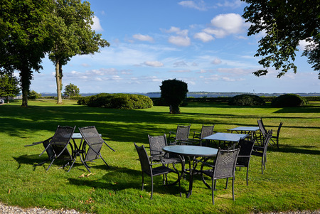 beautiful location: Beautiful location of a Cafe restaurant by a lake Valdemar Castle Denmark