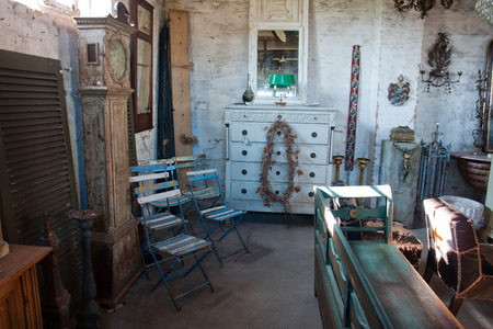 Classical vintage antiques shop with many attractive old items