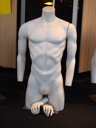 unclothed: Male man  mannequin, manikin,  lay figure in a funny situation