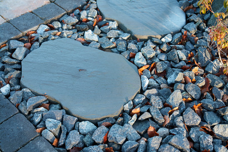 granite park: Details of beautiful stone pavement in a garden