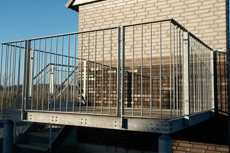 Modern design metal iron balcony in close view