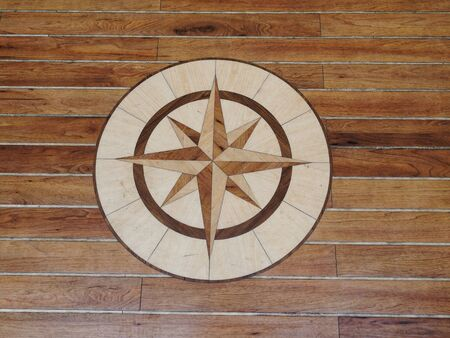 Details Of A High Quality Wooden Floor Of A Sailing Boat Stock Photo