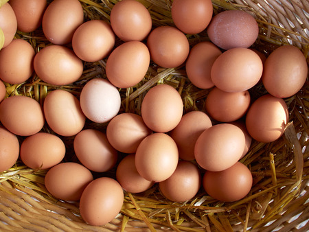 Fresh organic brown eggs basket in a market