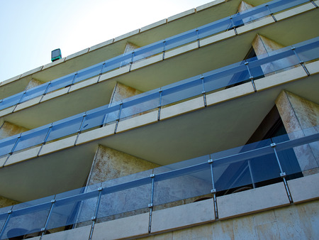 balcony: Pattern of hotel room balconies made of stone and marble Stock Photo