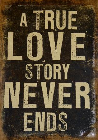 True Love Never Ends in een vintage stijl van het land kaart Stockfoto