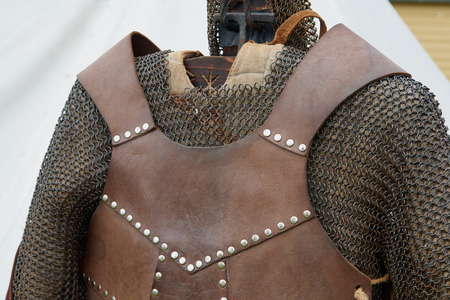 detailed view: Medieval middle ages knight armour in close up detailed view