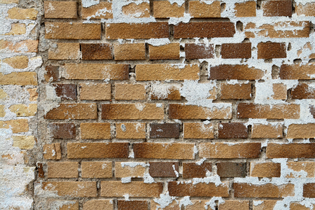 broken wall: Background image of old broken vintage brick wall stucco