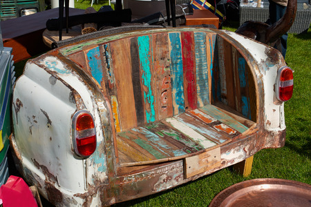 vintage furniture: Creative colorful sofa made from the back part of an old vintage car