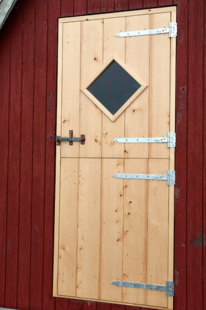 hobby hut: Details of beautiful red fishing huts on the coast Faaborg Denmark