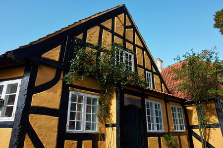 half timbered: Traditional old classic style Danish house Faaborg Denmark Stock Photo