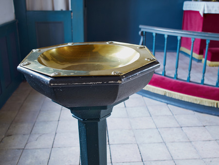 lutheran: Full view of a Baptismal font in a Lutheran church