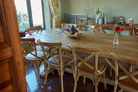 classical style: Interior design image of a beautiful classical country style dining room Stock Photo