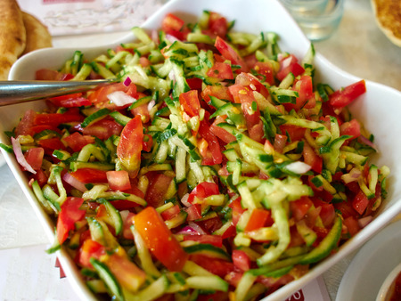 israeli: Classic famous Israeli salad made of freshly cut vegetables